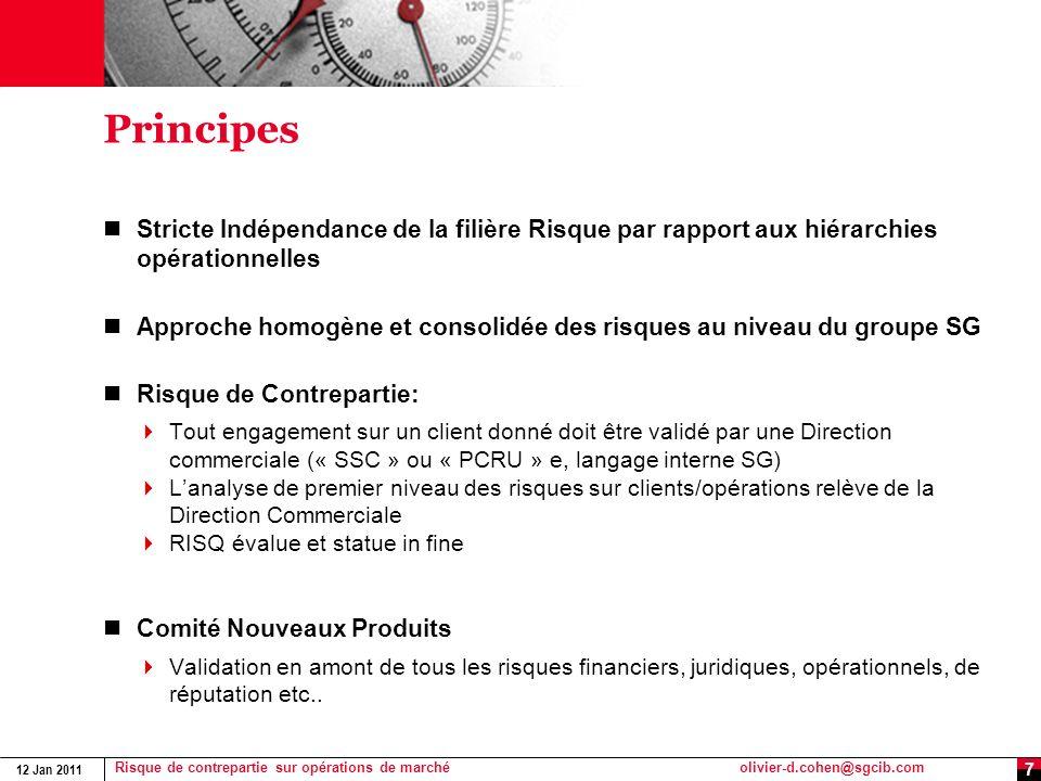 Principes Stricte Indépendance de la filière Risque par rapport aux hiérarchies opérationnelles.