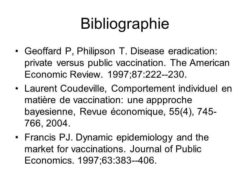 Bibliographie Geoffard P, Philipson T. Disease eradication: private versus public vaccination. The American Economic Review. 1997;87:222--230.