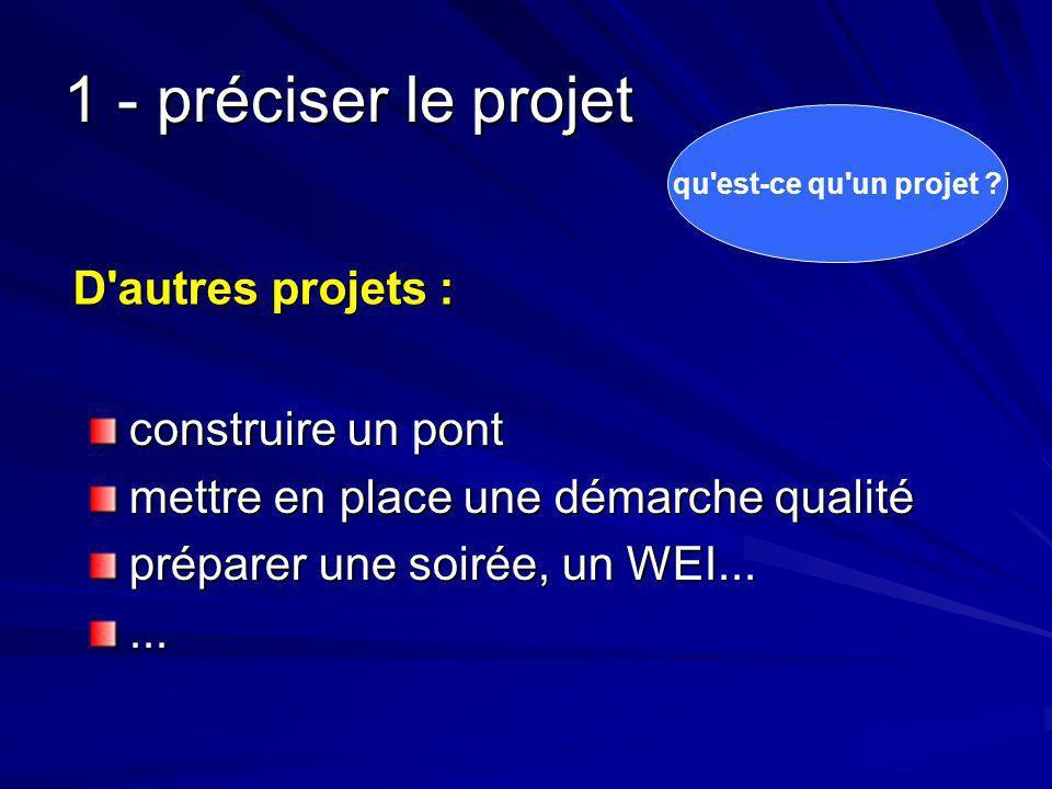 1 - préciser le projet D autres projets : construire un pont
