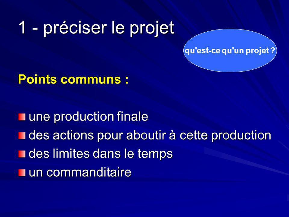 1 - préciser le projet Points communs : une production finale