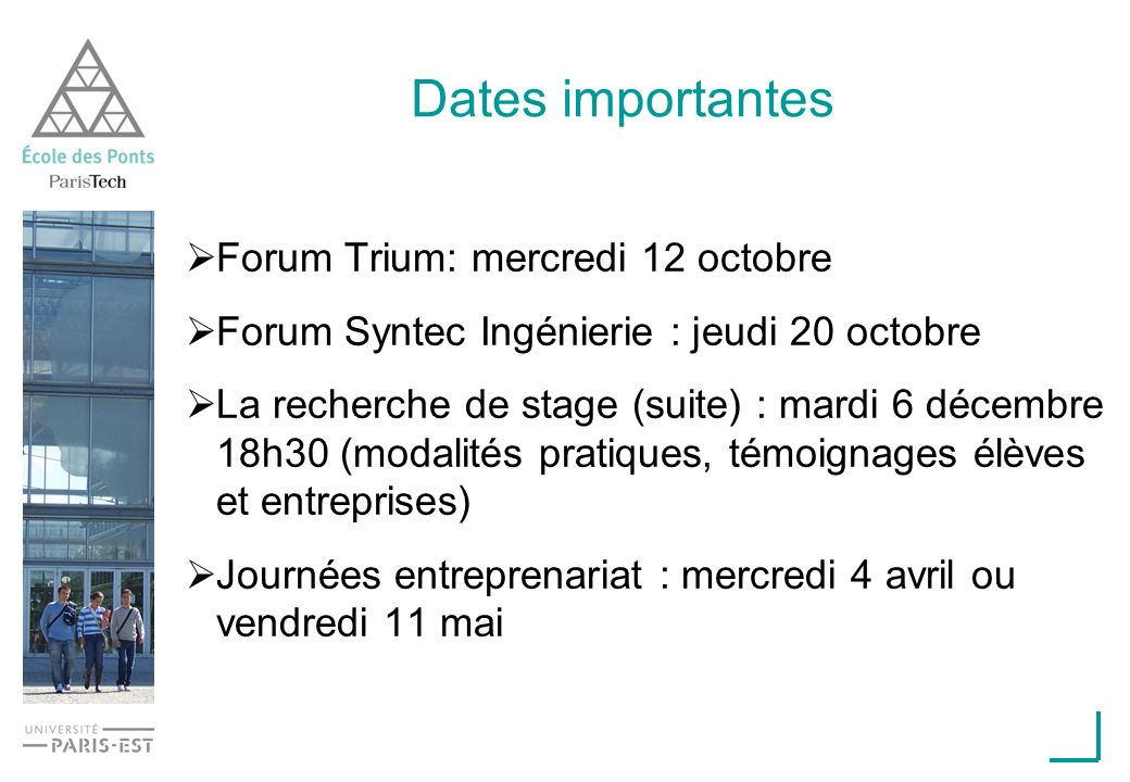 Dates importantes Forum Trium: mercredi 12 octobre