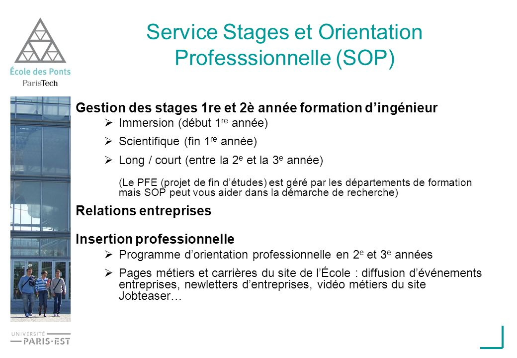 Service Stages et Orientation Professsionnelle (SOP)