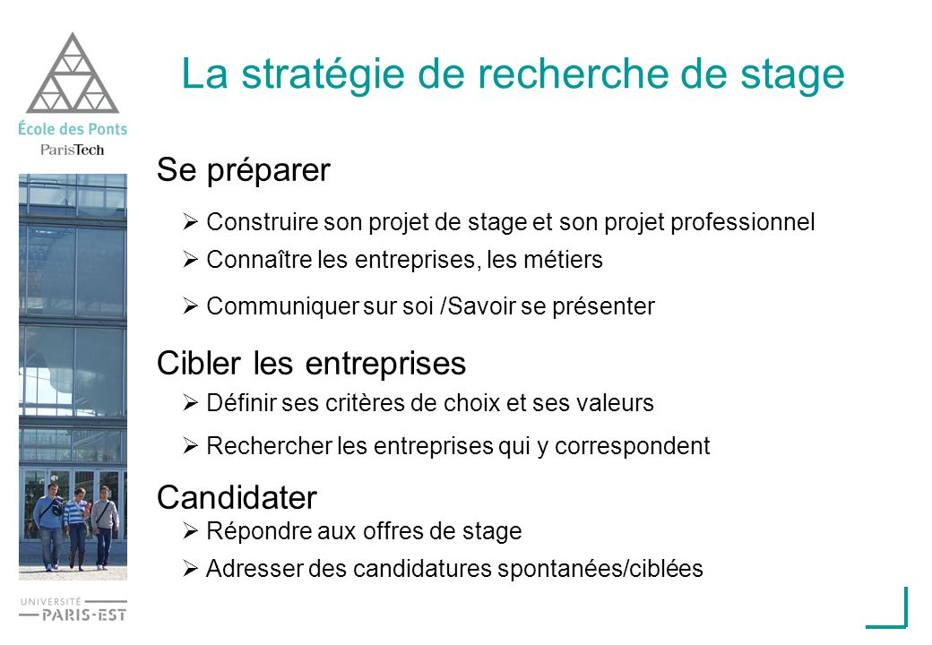 La stratégie de recherche de stage