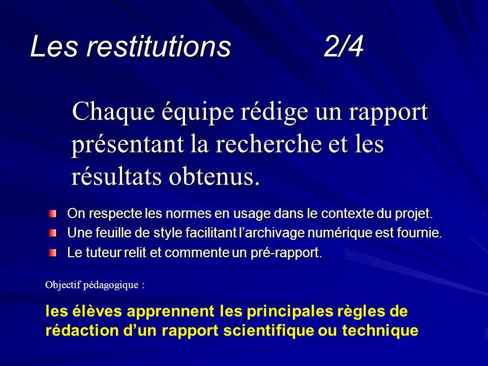 Les restitutions 2/4 Chaque équipe rédige un rapport présentant la recherche et les résultats obtenus.