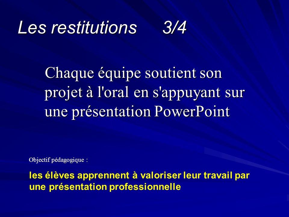 Les restitutions 3/4 Chaque équipe soutient son projet à l oral en s appuyant sur une présentation PowerPoint.