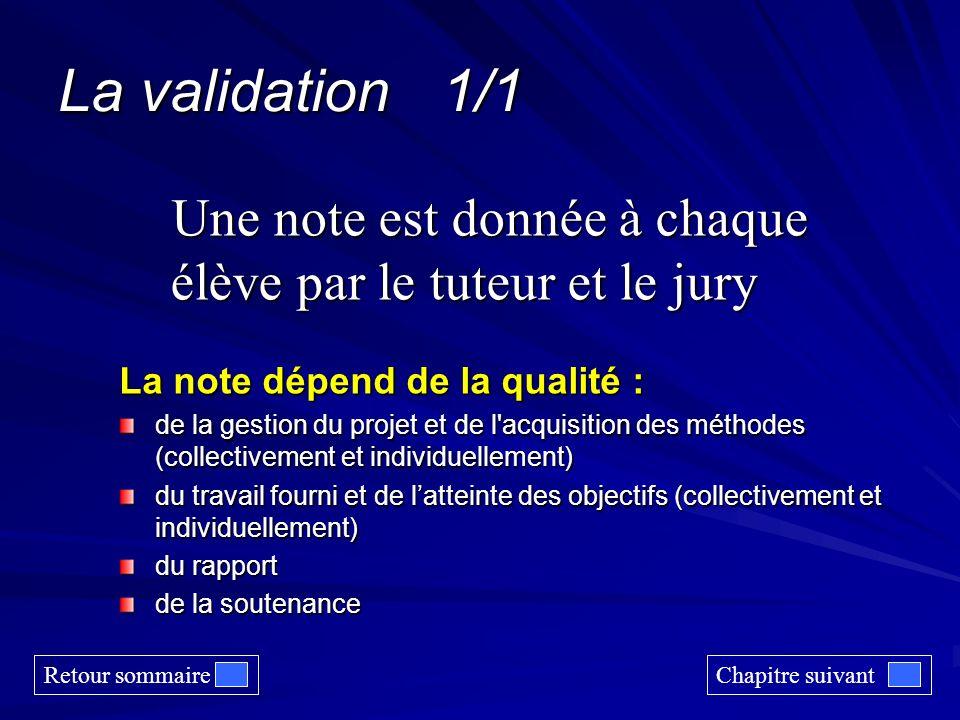 La validation 1/1 Une note est donnée à chaque élève par le tuteur et le jury. La note dépend de la qualité :