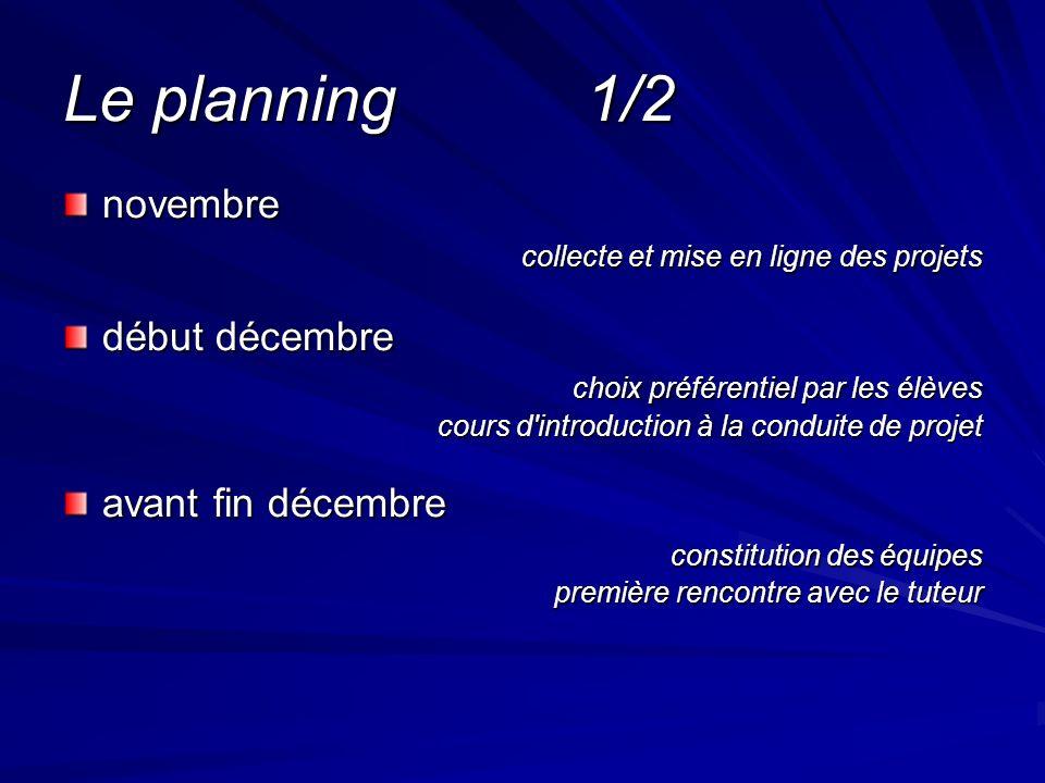 Le planning 1/2 novembre collecte et mise en ligne des projets