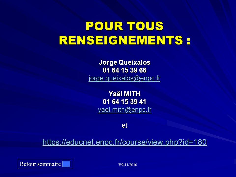 POUR TOUS RENSEIGNEMENTS : Jorge Queixalos 01 64 15 39 66 jorge