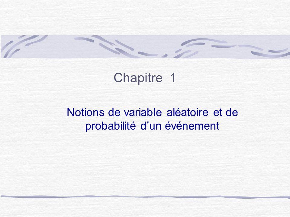 Notions de variable aléatoire et de probabilité d'un événement