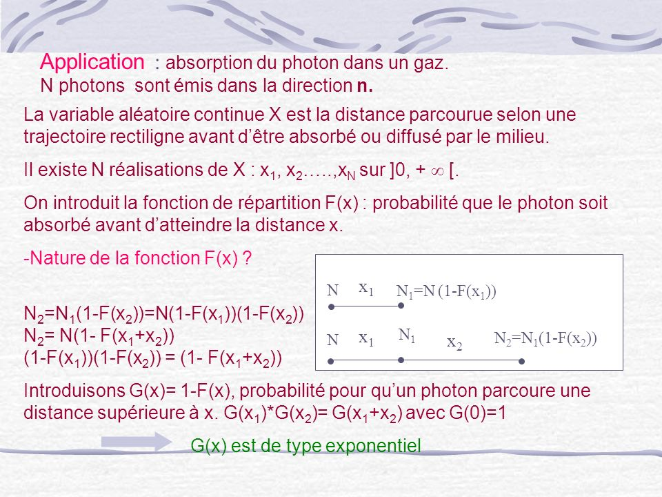 Application : absorption du photon dans un gaz.