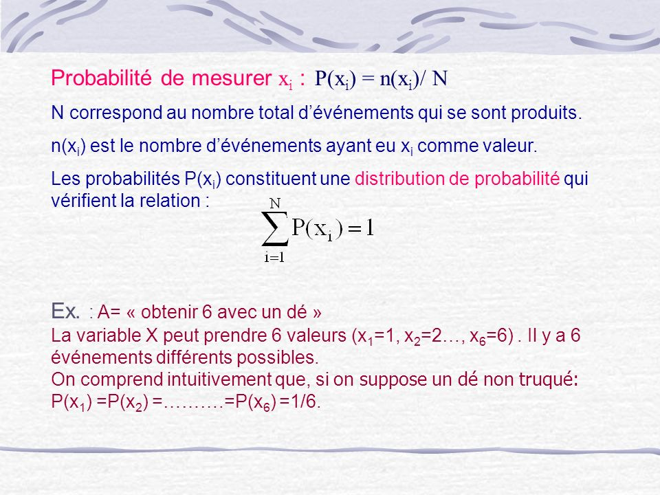 Probabilité de mesurer xi : P(xi) = n(xi)/ N