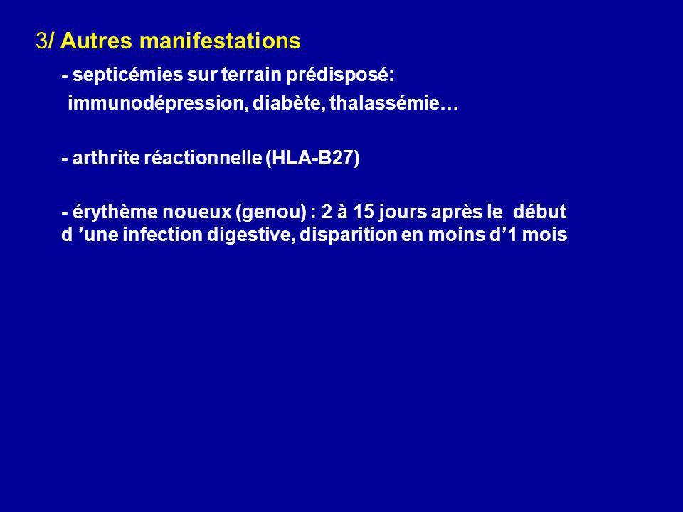 3/ Autres manifestations - septicémies sur terrain prédisposé: