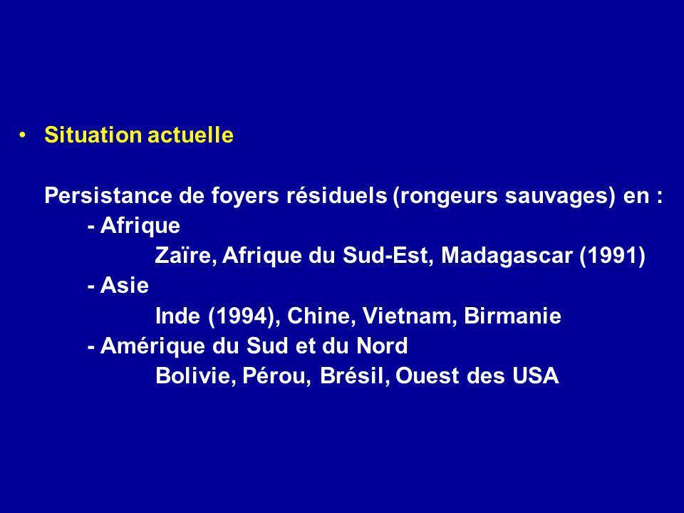 Persistance de foyers résiduels (rongeurs sauvages) en : - Afrique
