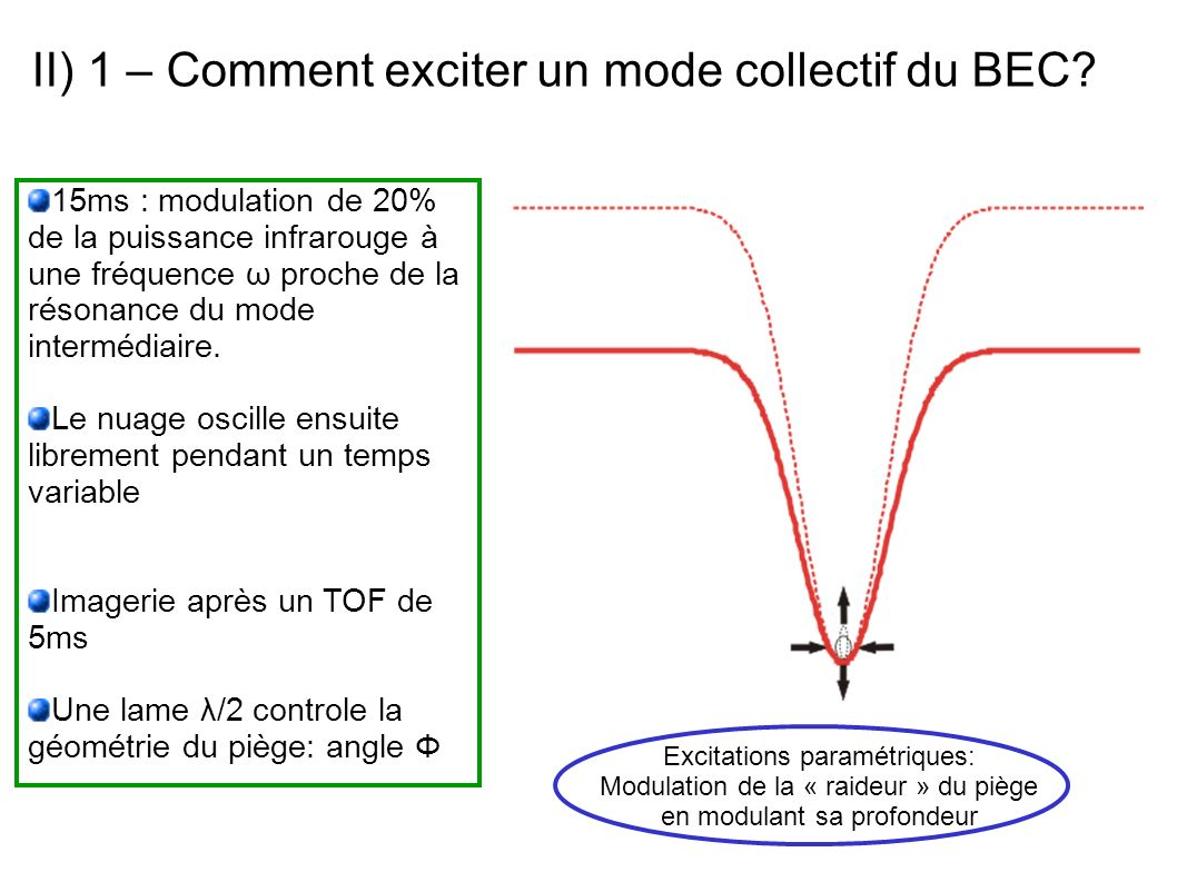 II) 1 – Comment exciter un mode collectif du BEC