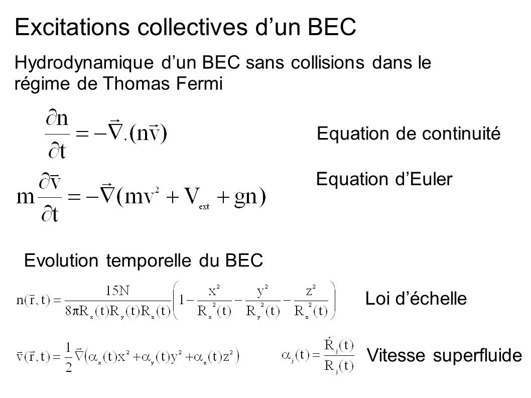 Excitations collectives d'un BEC