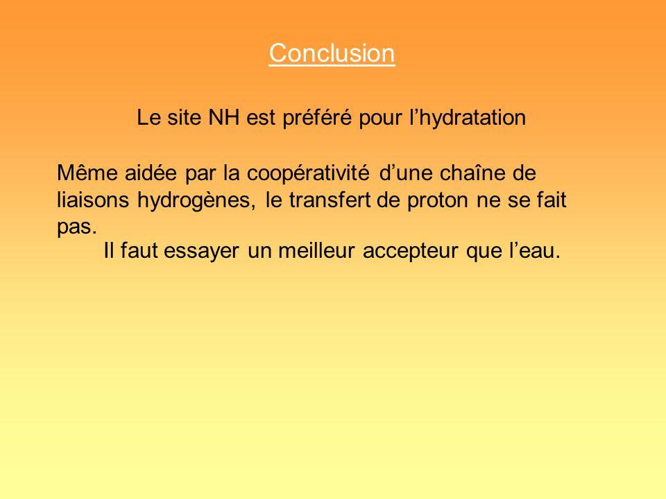 Conclusion Le site NH est préféré pour l'hydratation