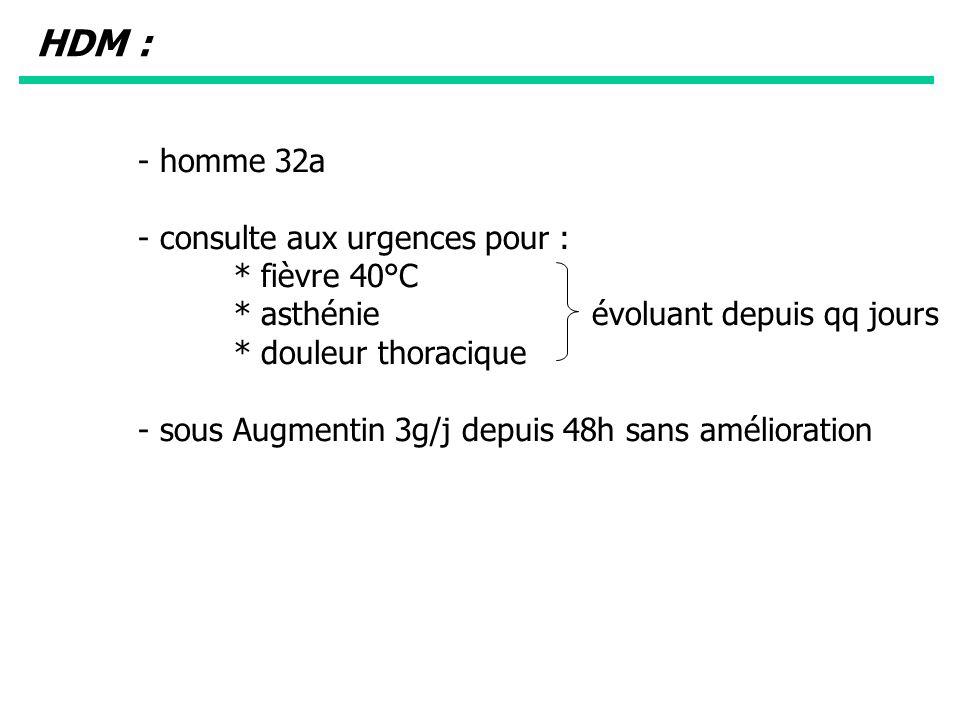 HDM : - homme 32a - consulte aux urgences pour : * fièvre 40°C