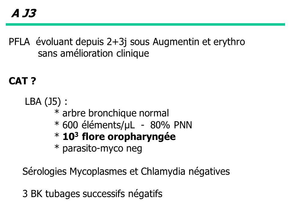 A J3 PFLA évoluant depuis 2+3j sous Augmentin et erythro