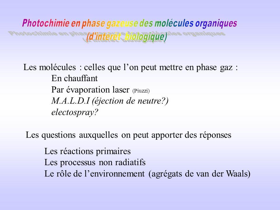 Les molécules : celles que l'on peut mettre en phase gaz :