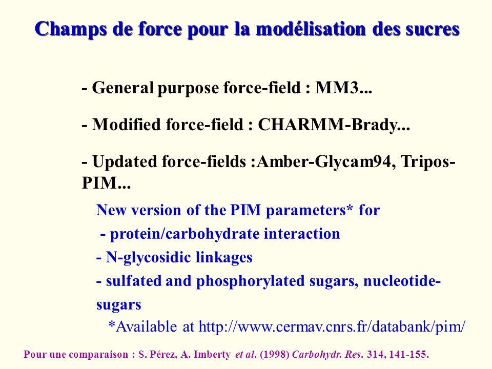 Champs de force pour la modélisation des sucres