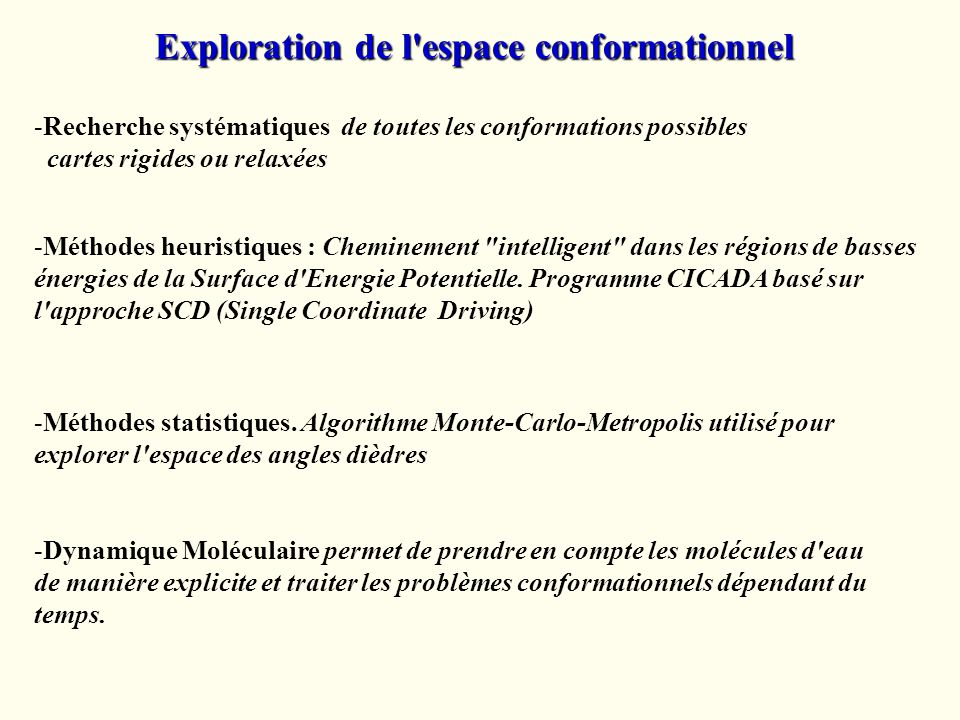 Exploration de l espace conformationnel