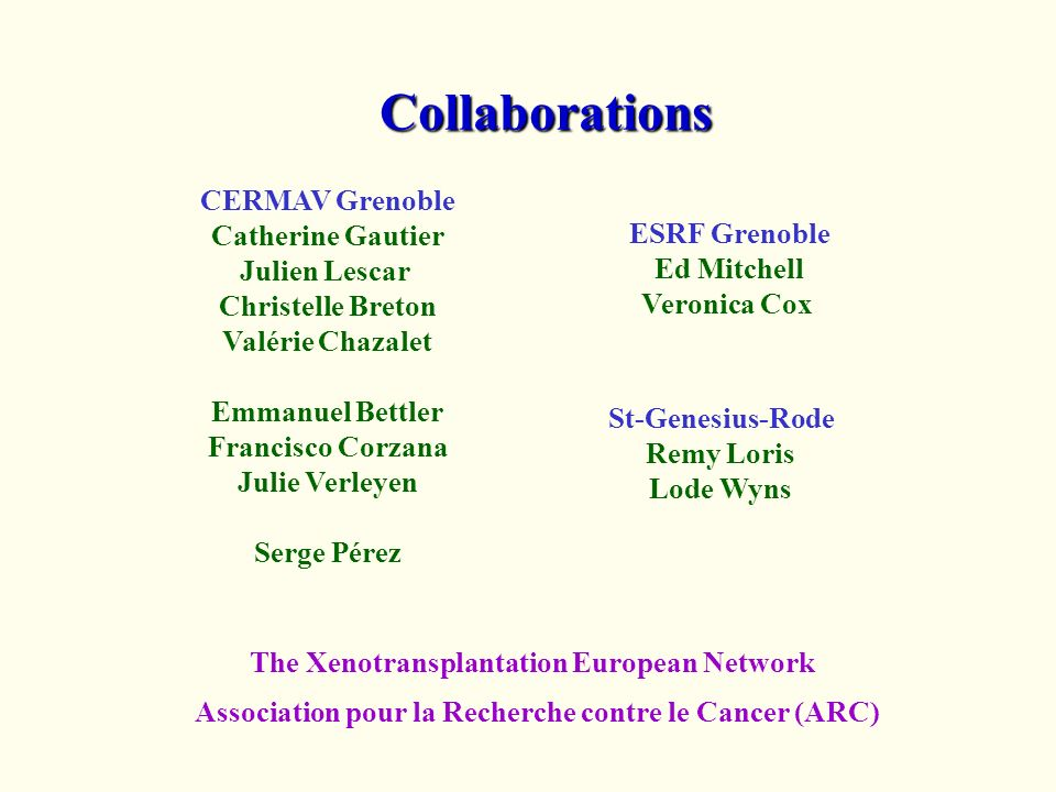 Collaborations CERMAV Grenoble Catherine Gautier Julien Lescar