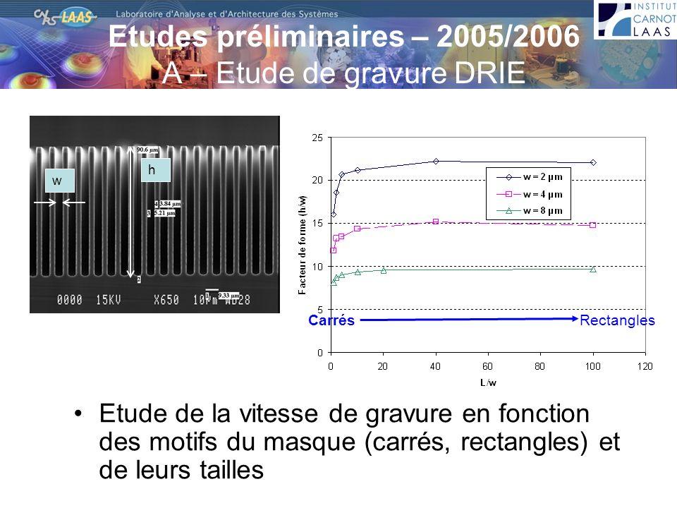 Etudes préliminaires – 2005/2006 A – Etude de gravure DRIE