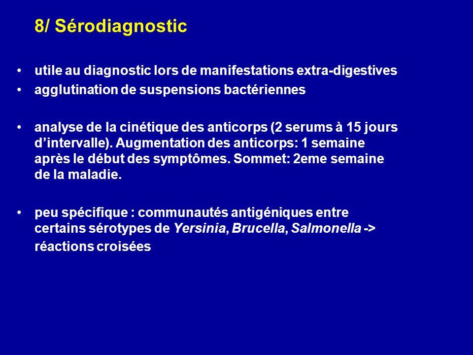 8/ Sérodiagnostic utile au diagnostic lors de manifestations extra-digestives. agglutination de suspensions bactériennes.