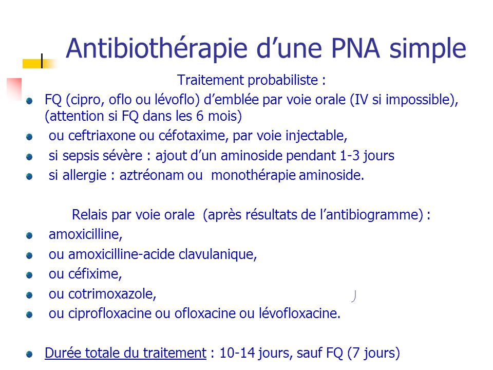 Antibiothérapie d'une PNA simple