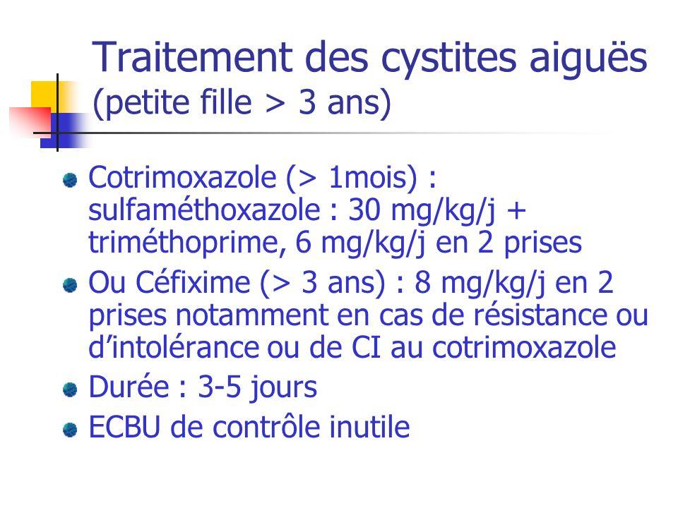 Traitement des cystites aiguës (petite fille > 3 ans)