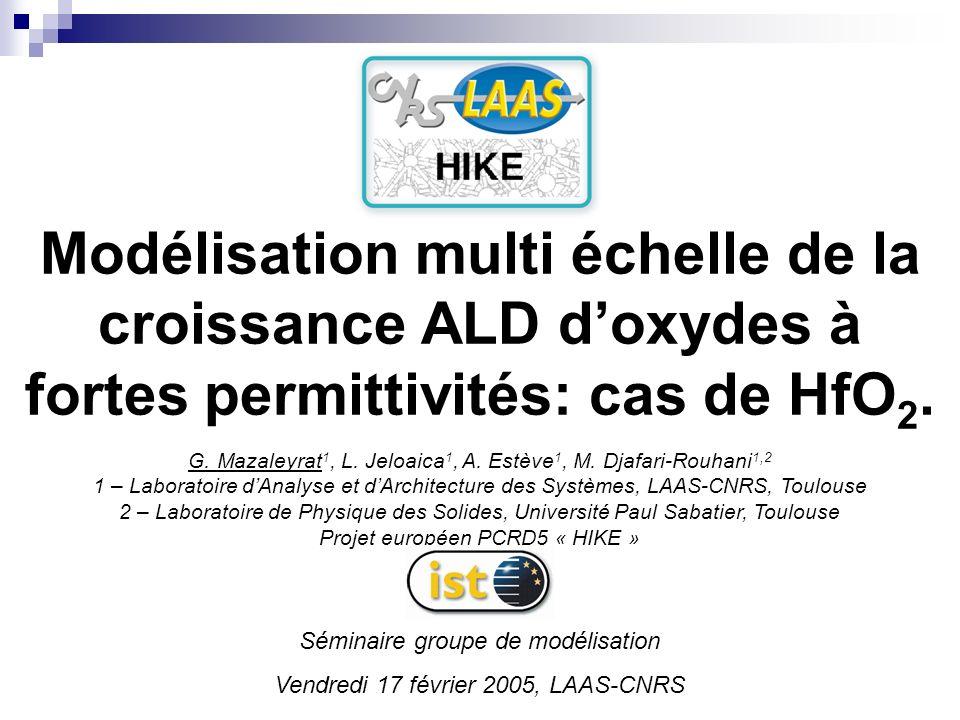 Modélisation multi échelle de la croissance ALD d'oxydes à fortes permittivités: cas de HfO2.