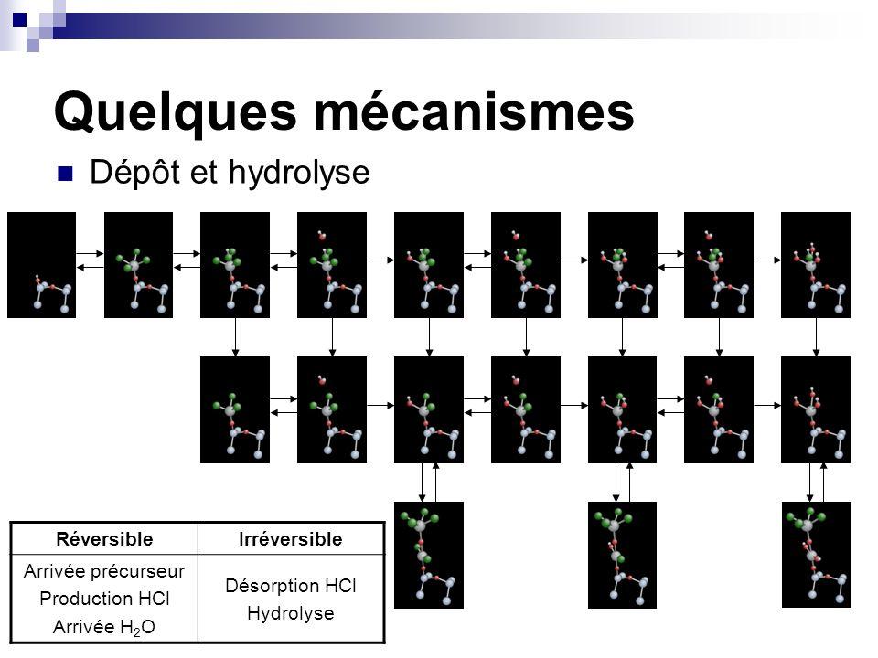 Quelques mécanismes Dépôt et hydrolyse Réversible Irréversible