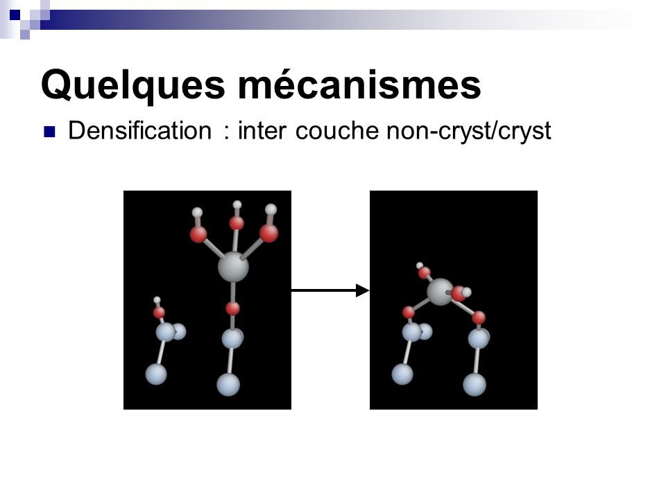 Quelques mécanismes Densification : inter couche non-cryst/cryst