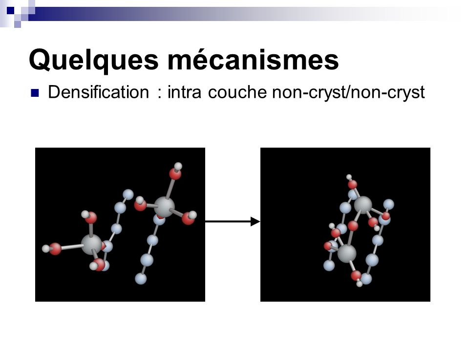 Quelques mécanismes Densification : intra couche non-cryst/non-cryst