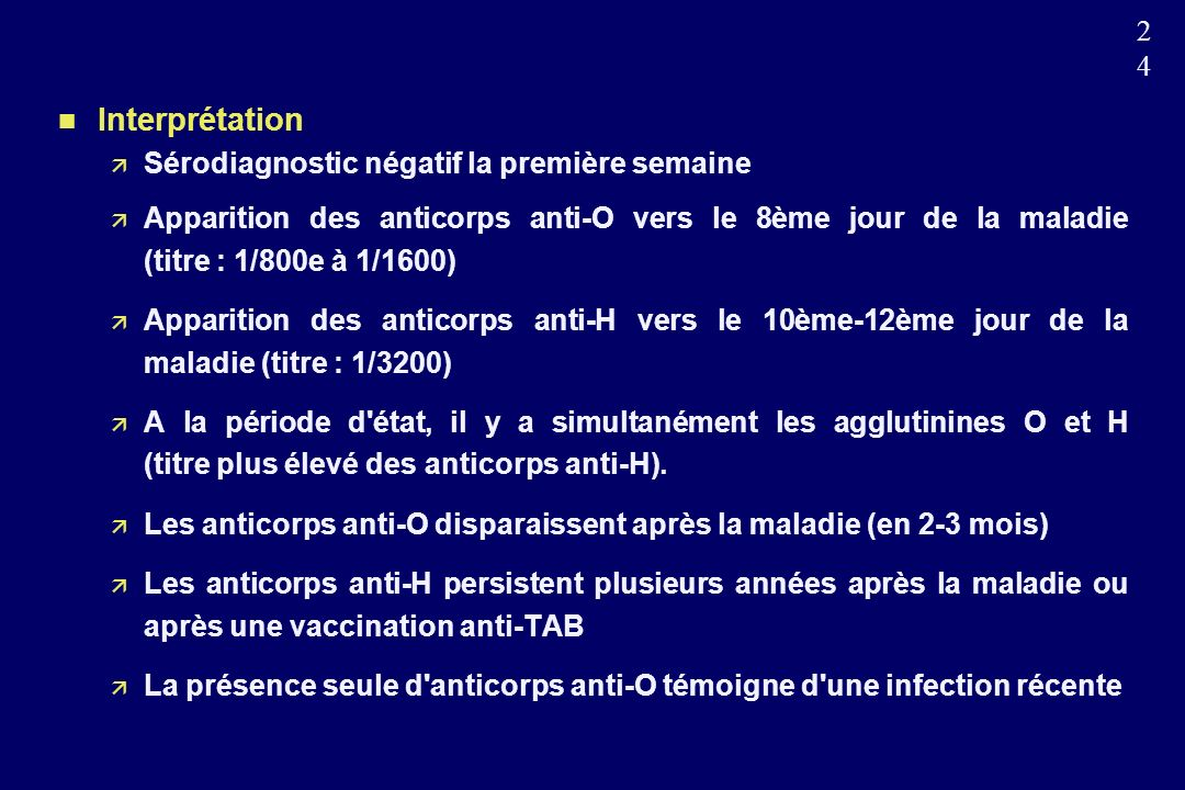 Interprétation Sérodiagnostic négatif la première semaine