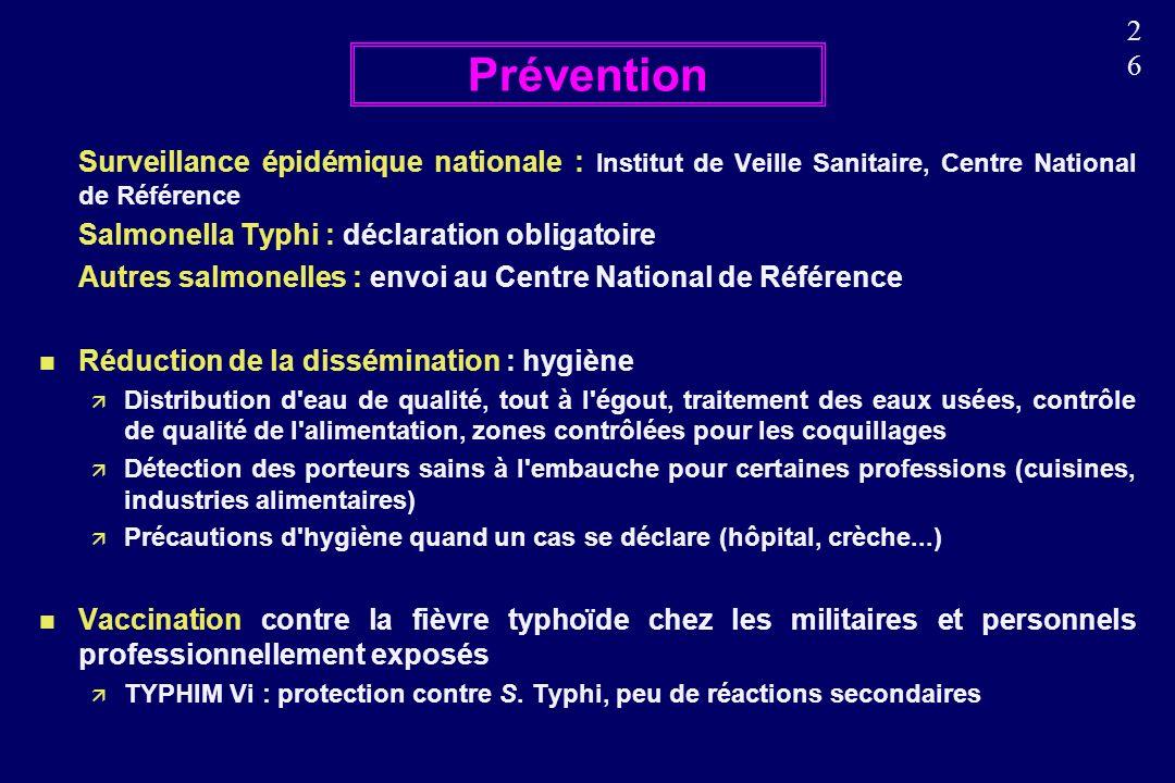 Prévention Surveillance épidémique nationale : Institut de Veille Sanitaire, Centre National de Référence.