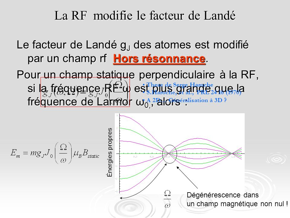 La RF modifie le facteur de Landé
