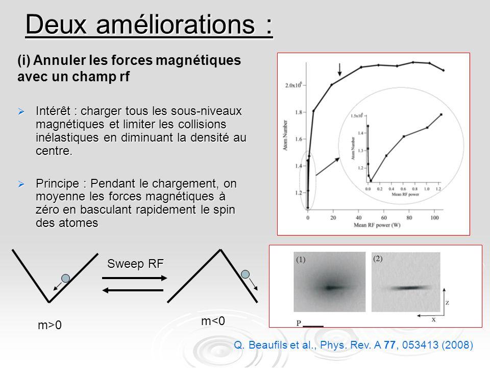 Deux améliorations : (i) Annuler les forces magnétiques avec un champ rf.