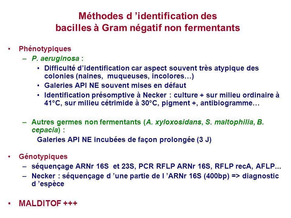 Méthodes d 'identification des bacilles à Gram négatif non fermentants