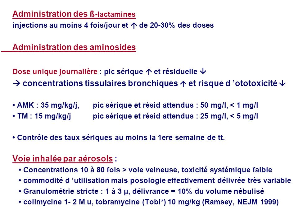 Administration des ß-lactamines