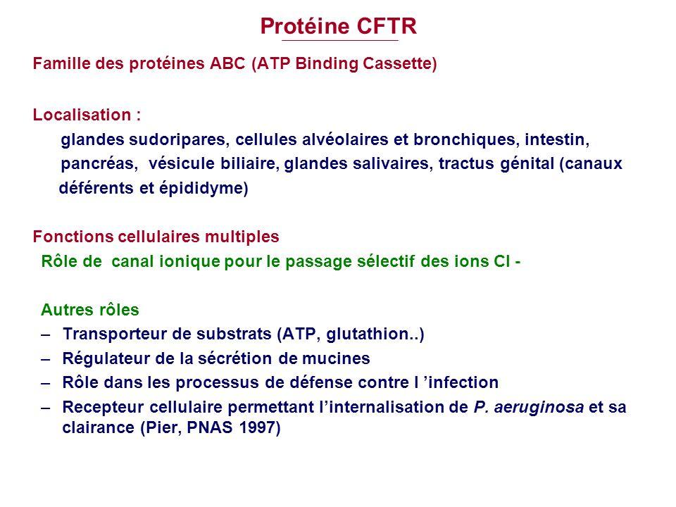 Protéine CFTR Famille des protéines ABC (ATP Binding Cassette)