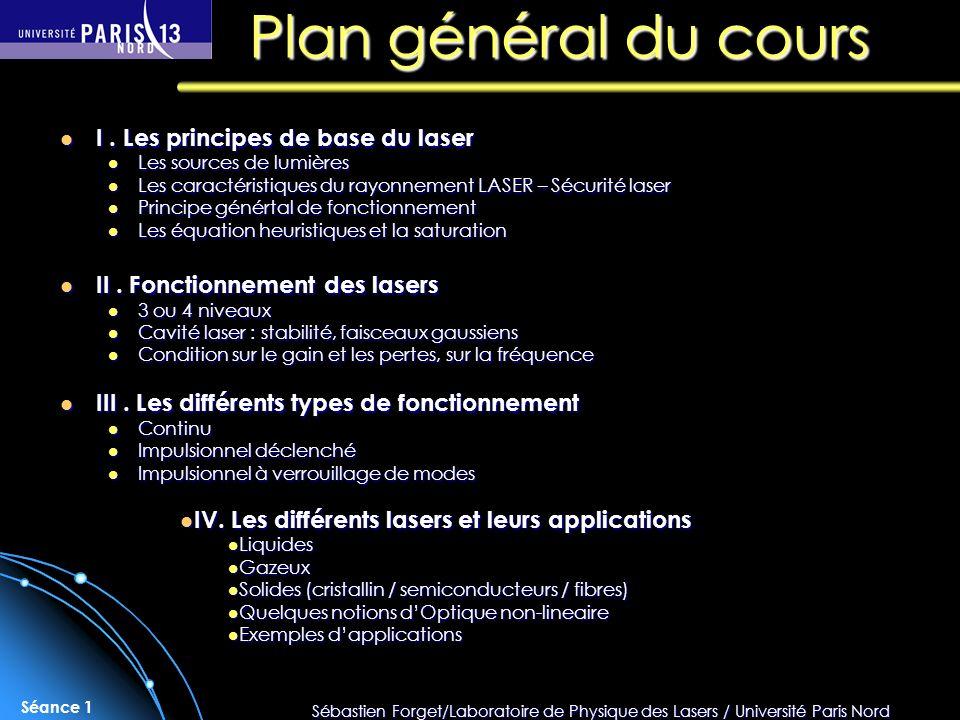 Plan général du cours I . Les principes de base du laser