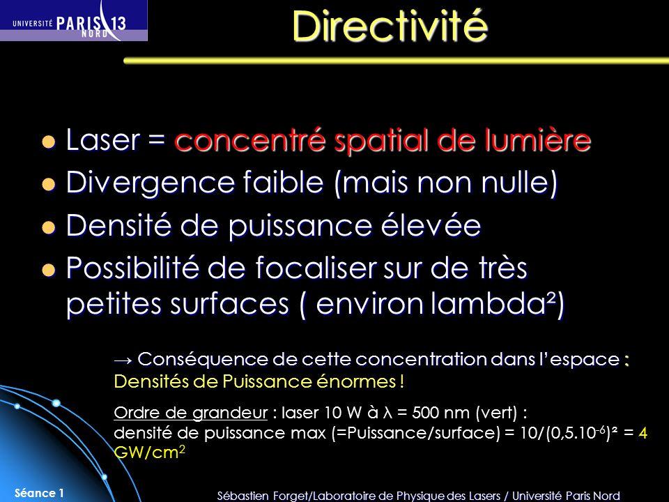Directivité Laser = concentré spatial de lumière
