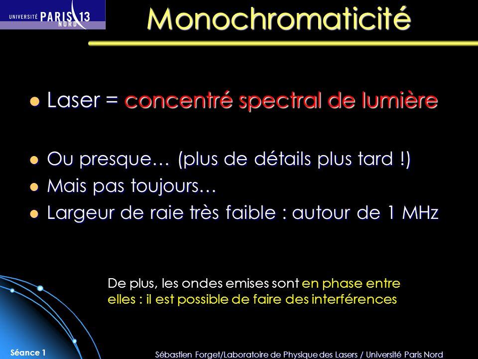 Monochromaticité Laser = concentré spectral de lumière