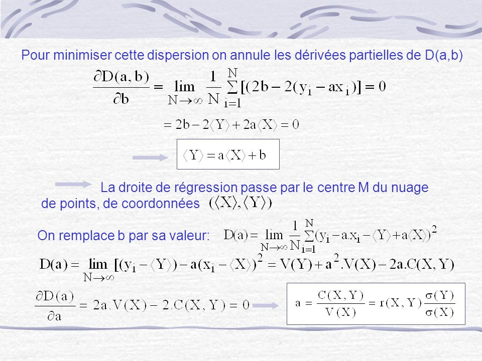Pour minimiser cette dispersion on annule les dérivées partielles de D(a,b)