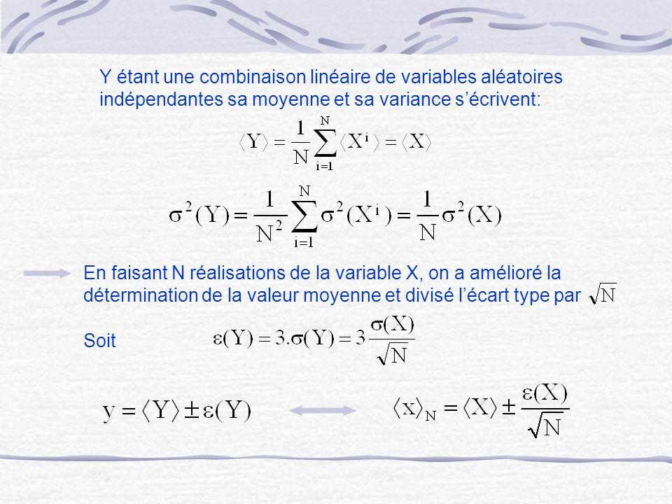 Y étant une combinaison linéaire de variables aléatoires indépendantes sa moyenne et sa variance s'écrivent: