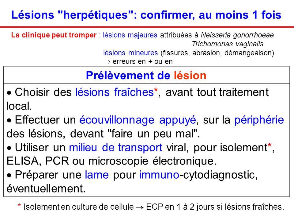 Lésions herpétiques : confirmer, au moins 1 fois