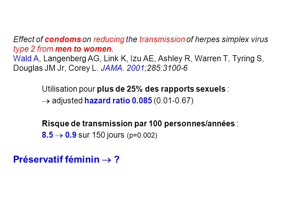 Effect of condoms on reducing the transmission of herpes simplex virus type 2 from men to women. Wald A, Langenberg AG, Link K, Izu AE, Ashley R, Warren T, Tyring S, Douglas JM Jr, Corey L. JAMA. 2001;285:3100-6