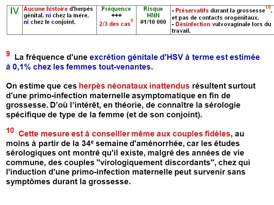 9 La fréquence d une excrétion génitale d HSV à terme est estimée à 0,1% chez les femmes tout-venantes.