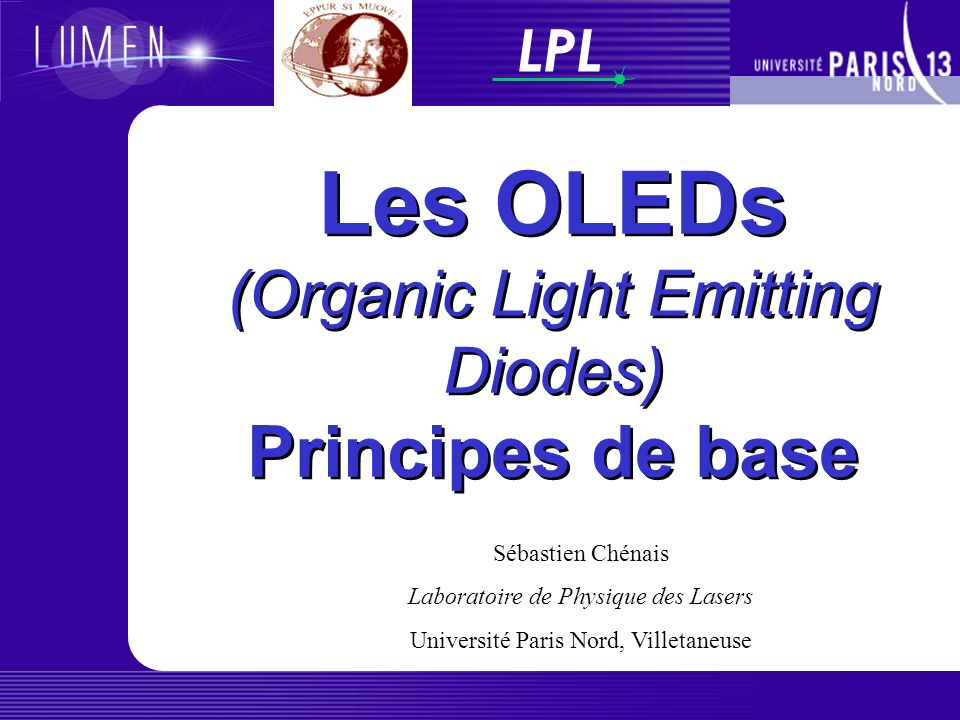 Les OLEDs (Organic Light Emitting Diodes) Principes de base